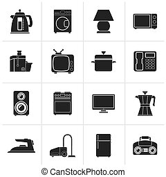 Black home equipment icons - vector icon set