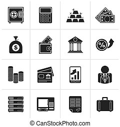 Black Bank and Finance Icons
