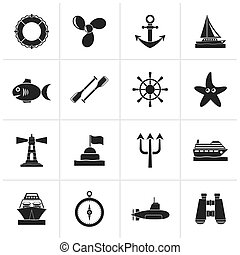 Black Marine and sea icons - vector icon set