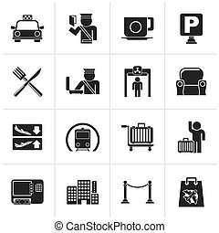 Airport icons - Black Airport, travel and transportation...