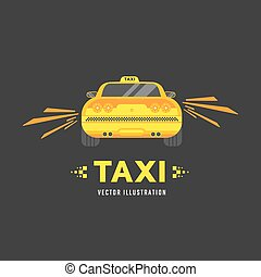 Taxi car service - Taxi car view back Vector flat...