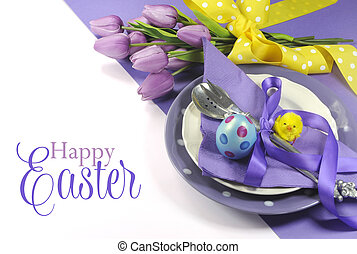 Happy Easter yellow and purple mauve lilac theme easter...