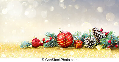 Christmas Greeting Card With Ornament On Golden Background