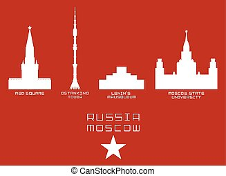 Russia Moscow city shape silhouette icon set -Red Square,...