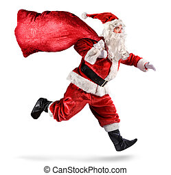 Santa Claus Running With A bag Of Gifts On A White...