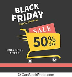Black friday sale creative poster Shopping cart Vector...