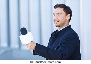 Journalist in action of taking personal interview. - Process...