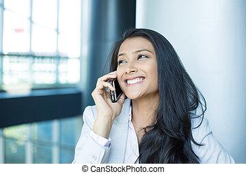 Happy good news phone calls - Closeup portrait, young, happy...