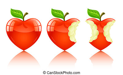 red apple in form of love heart - illustration, isolated on...