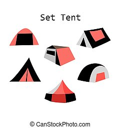 forms of tourist tents - illustration of different models of...