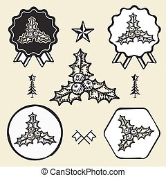 Christmas holly berry  symbol emblem label collection