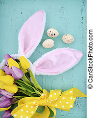 Easter pink and white bunny ears