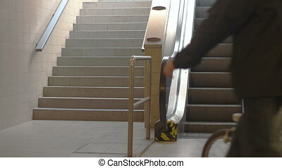 Train Station Escalators - People chosing escalator over...