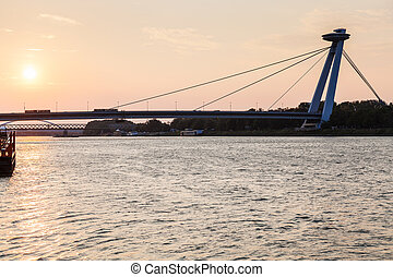 SNP bridge across Danube river in early morning - travel to...