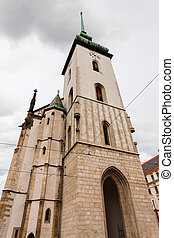 tower of Church of St Jacob (St James) in Brno - travel to...