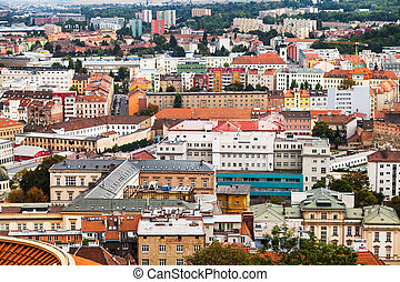 above view of Brno city, Czech - travel to Brno city - above...