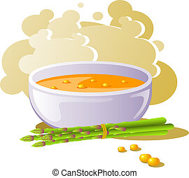 A bowl of corn soup with asparagus