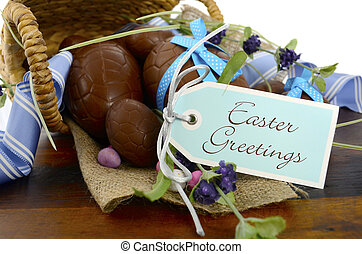 Happy Easter basket hamper of chocolate Easter Eggs and...