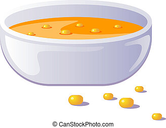 Bowl of corn soup. Over white. EPS 8, AI, JPEG