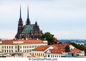 Brno skyline with Cathedral of St Peter and Paul - travel to...
