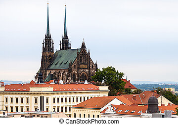 Brno landscape with Cathedral of St Peter and Paul