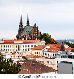 Brno cityscape with Cathedral of St Peter and Paul