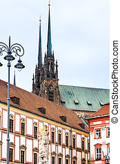 Column, Theather and Cathedral in Brno - travel to Brno city...