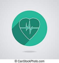 Defibrillator heart icon isolated on green background...