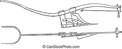 Subsoiler plow Smith, vintage engraving. - Subsoiler plow...