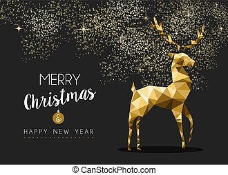 Merry christmas happy new year gold deer origami - Merry...