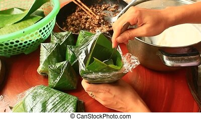 making cake from rice flour and meat