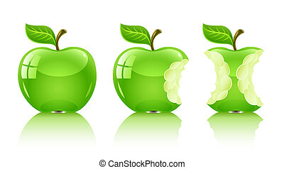 green nibbled apple with leaf - illustration, isolated on...