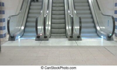 Train Station Escalators - Wide angle timelapse of...