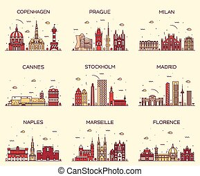Europe skylines Prague Cannes Madrid line art - Europe...