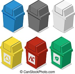 Set of isometric Trash bin