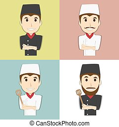 Happy chef master with mustache