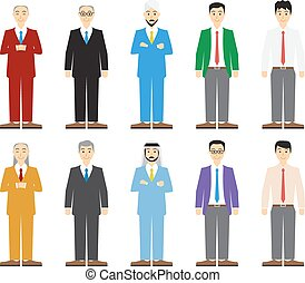 Set of old and young business man in flat style