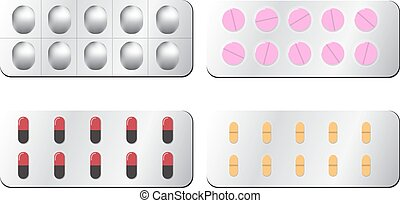 Set of pill isolated on white