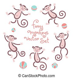 Funny monkeys vector isolated set of illustrations. Lovely monkey and balls elements for design
