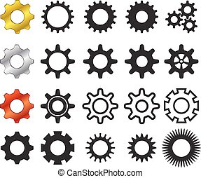Set of cog icons in many style,