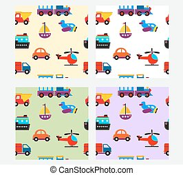 seamless pattern with cute baby transport toys illustration