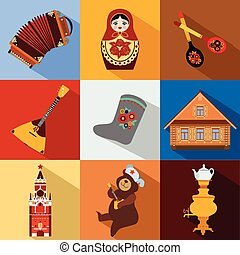 Set of Russia travel colorful flat icons, Russian national...
