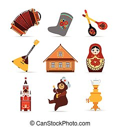 Set of Russia travel colorful isolated flat icons, Russian...