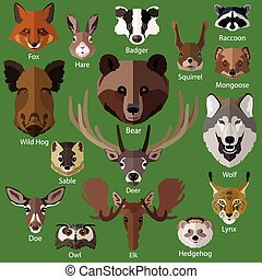 Set of forest animals faces isolated icons Flat style design...
