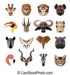 Set of african animals faces isolated icons Flat style...