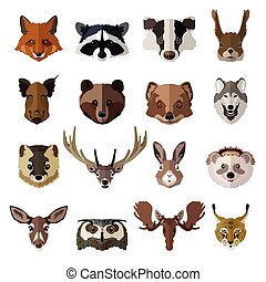 Set of forest animals faces isolated icons. Flat style...