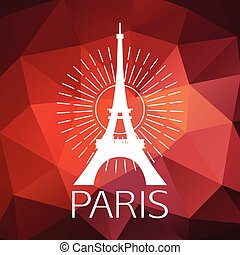 The Eiffel Tower label or logo over geometric background....