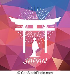 Japan label or logo over geometric background. Japan symbol...