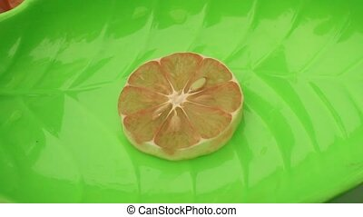 cut lemon and arrange on plates