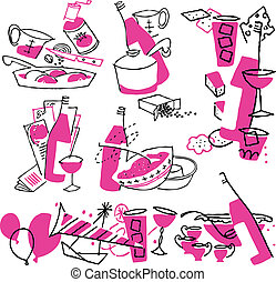 Hand drawn cooking doodles. Vector illustration cartoon.